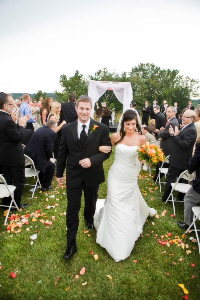 wedding reception walking down the isle