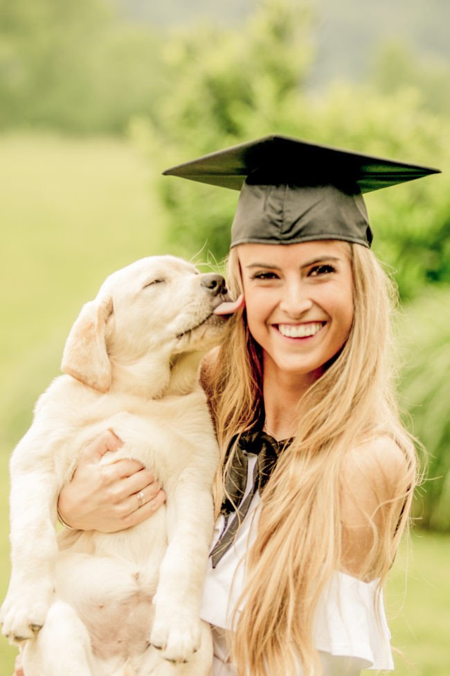 puppy and collage grad