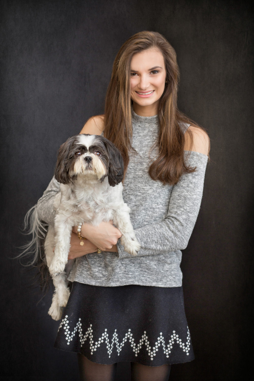 high school senior girl and her dog